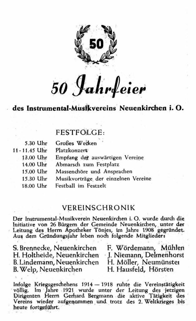 """50. Jubiläum. Presse: """"Neuenkirchen eine Hochburg der Musik"""""""